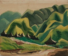 """Nadzab"" 1940's Gouache and Graphite Lush Mountain Landscape"