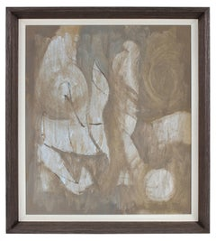 Taupe Brown and Gray Modernist Abstract Painting in Oil, Circa late 1950s