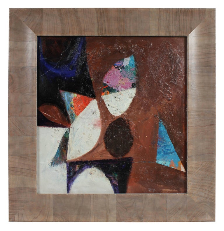 Calvin Anderson Abstract Painting - Textured Abstract in Neutral Tones, Oil Painting, Circa 1950s