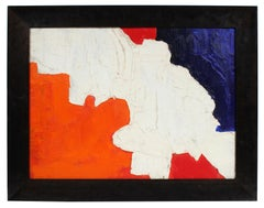 Textured Abstract in Red White Blue and Black Oil Painting Late 1950s