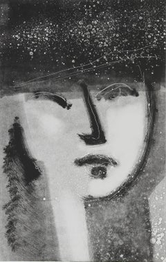 Monochromatic Abstracted Portrait 1990-2000s Monotype