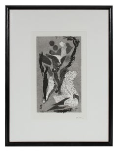 Monochromatic Modernist Abstracted Figures Monotype on Paper