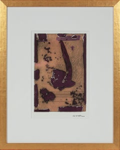 Orange & Plum Vintage Abstract 1990-2000s Etching in Gold Frame