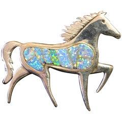 Calvin Begay Navajo Designer Original, Fire Opal & Sterling Stallion Brooch