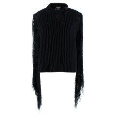 Calvin Klein 205W39NYC Black Fringed Jumper - Size XS