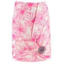 Calvin Klein 205W39NYC Brooch-Embellished Silk Skirt - Size US 0