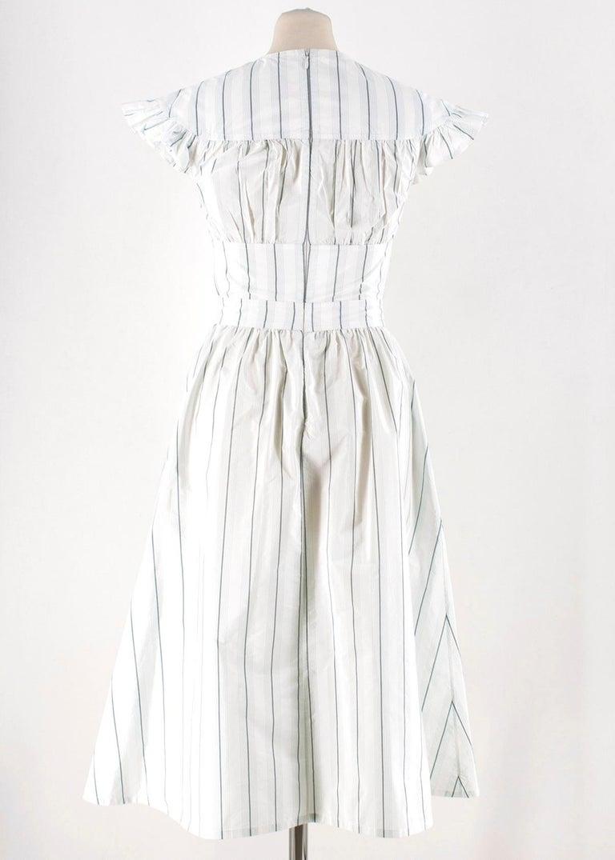 d57a70a81a7 Gray Calvin Klein 205W39NYC White & Green Striped Midi Dress US 0 For Sale