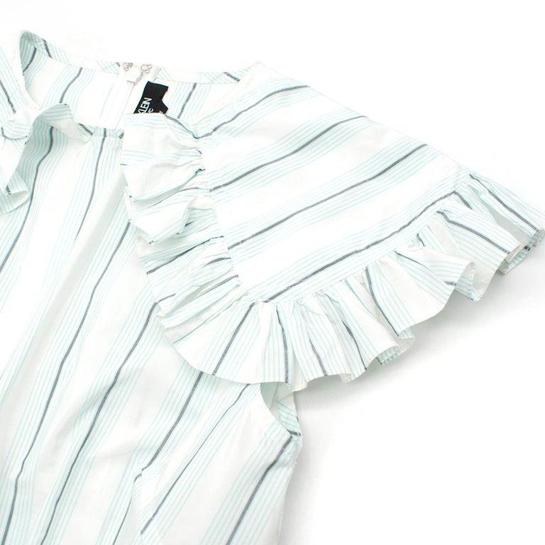 20cf29a3c70 Calvin Klein 205W39NYC White & Green Striped Midi Dress US 0 For Sale 1