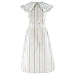 Calvin Klein 205W39NYC White & Green Striped Midi Dress US 0