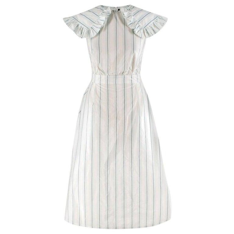fdbf42af495 Calvin Klein 205W39NYC White and Green Striped Midi Dress US 0 For ...