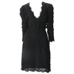 Calvin Klein Black Lace Cocktail Dress, c. 1990s.