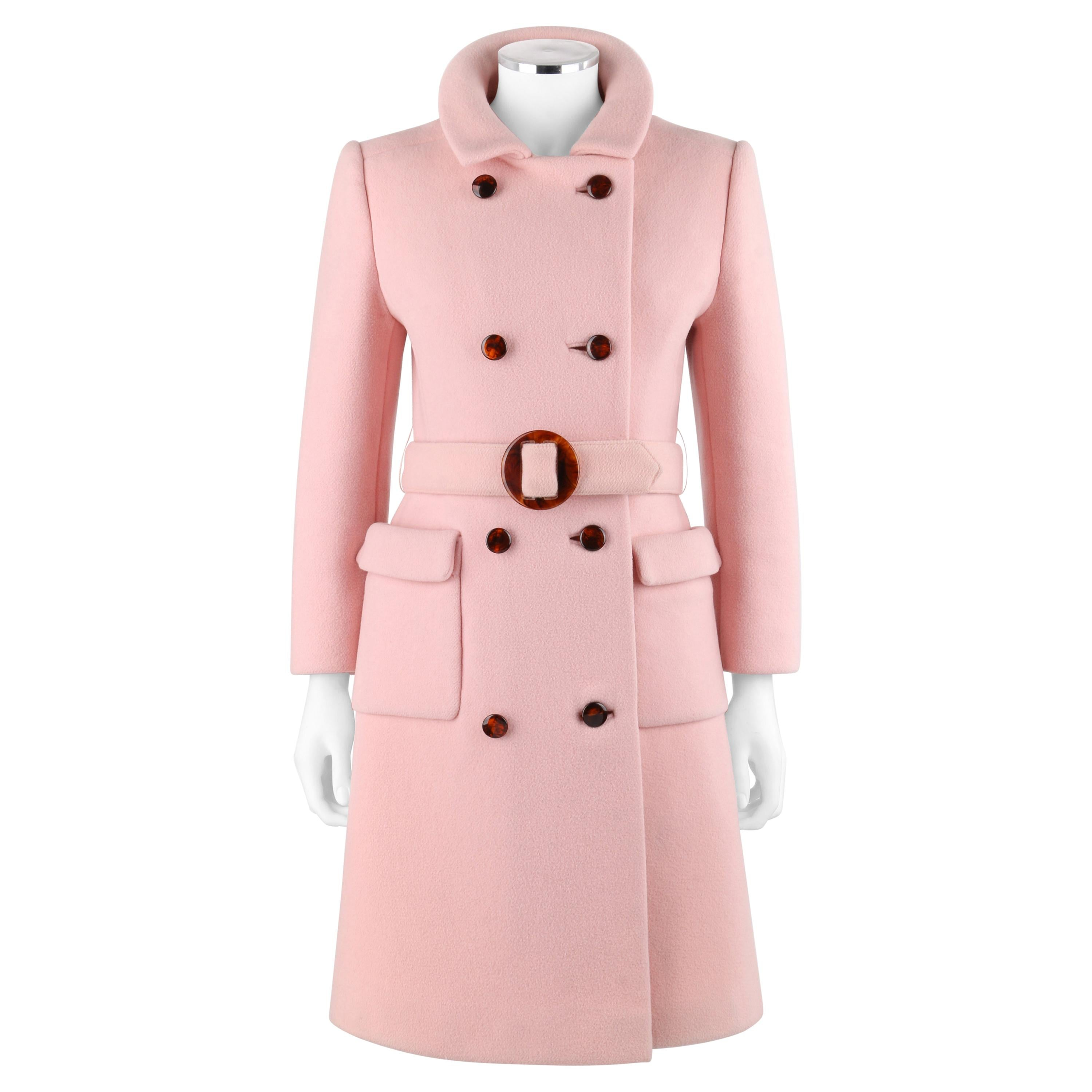 CALVIN KLEIN c.1960's Mod Soft Pink Wool Tortoise Shell Belted Top Coat