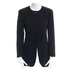 CALVIN KLEIN COLLECTION 100% silk black collarless minimal blazer jacket US2 XS