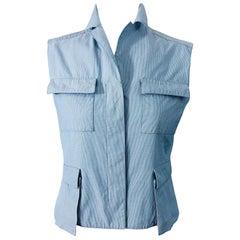 Calvin Klein Collection 1990s Size 8 Seersucker Utility Vintage 90s Vest Shirt