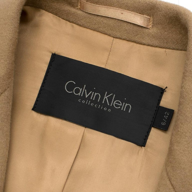 Calvin Klein Collection Camel Wool & Cashmere Blend Coat SIZE 6/42 In Excellent Condition For Sale In London, GB