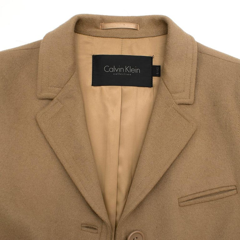 Women's Calvin Klein Collection Camel Wool & Cashmere Blend Coat SIZE 6/42 For Sale