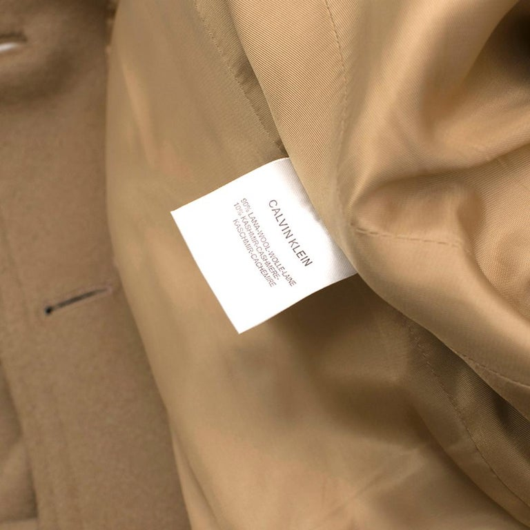 Calvin Klein Collection Camel Wool & Cashmere Blend Coat SIZE 6/42 For Sale 4