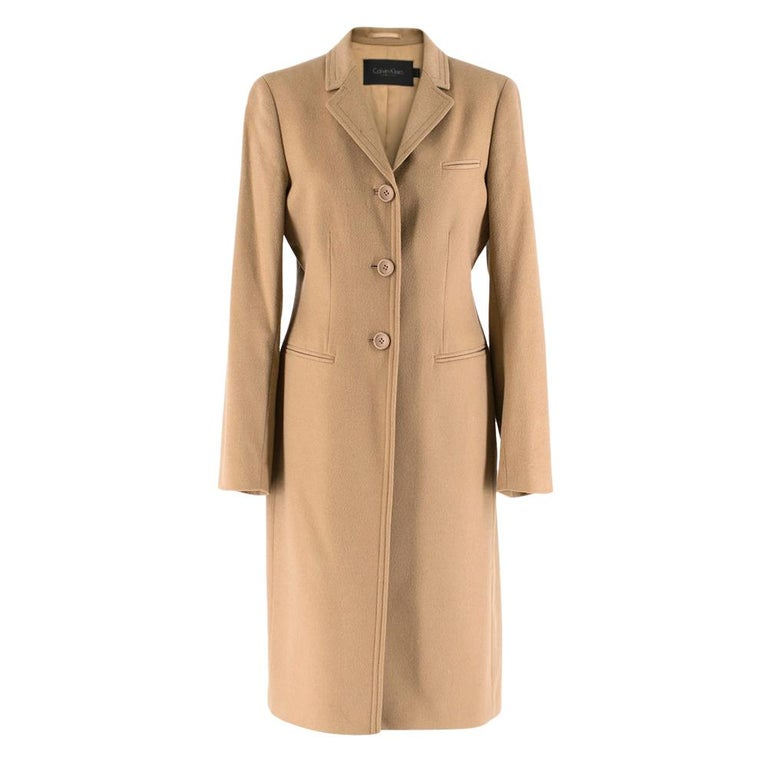 Calvin Klein Collection Camel Wool & Cashmere Blend Coat SIZE 6/42 For Sale