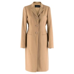 Calvin Klein Collection Camel Wool & Cashmere Blend Coat Size US 6