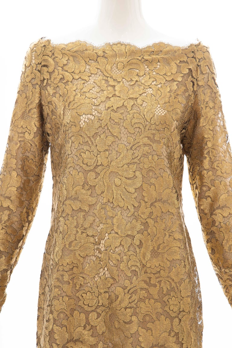 Calvin Klein Collection, Fall 1991, metallic gold metal lace evening dress with concealed back zip and fully lined.  US. 10  Bust: 35, Waist: 33, Hip: 37, Sleeve: 24. Length: 33