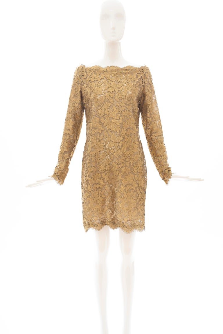 Brown Calvin Klein Collection Metallic Gold Metal Lace Evening Dress, Fall 1991 For Sale
