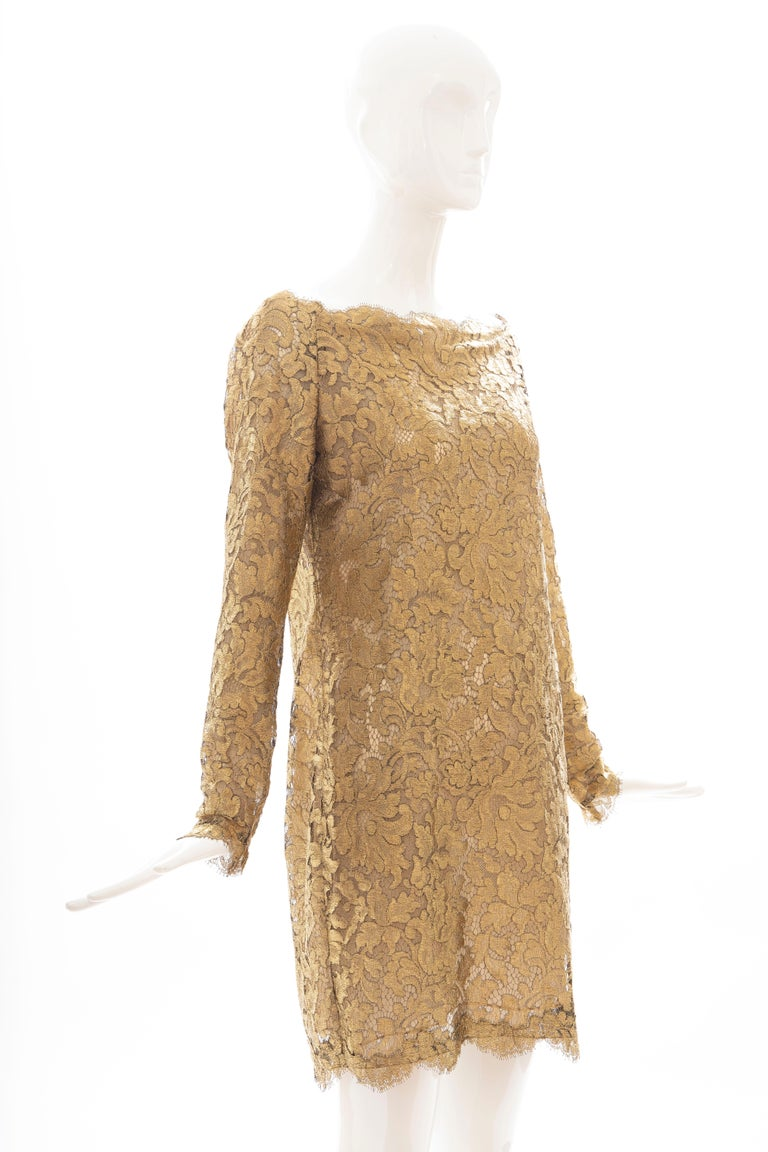 Calvin Klein Collection Metallic Gold Metal Lace Evening Dress, Fall 1991 In Excellent Condition For Sale In Cincinnati, OH
