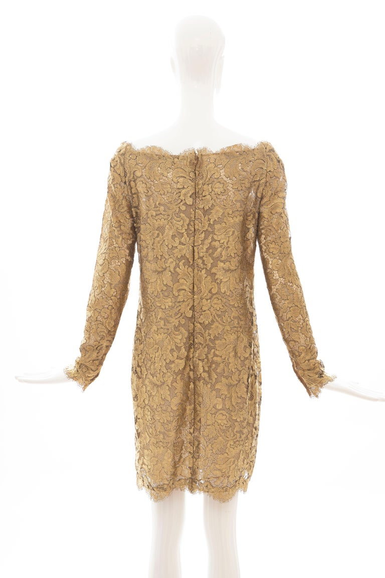 Calvin Klein Collection Metallic Gold Metal Lace Evening Dress, Fall 1991 For Sale 1