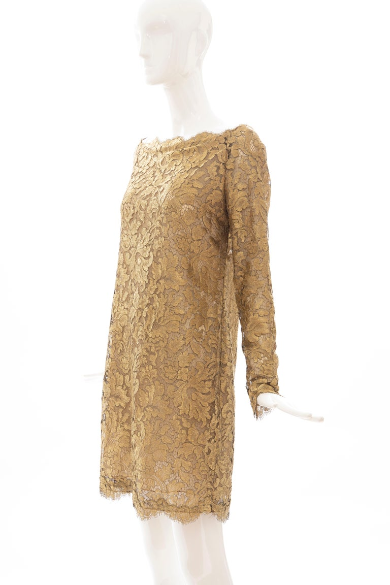 Calvin Klein Collection Metallic Gold Metal Lace Evening Dress, Fall 1991 For Sale 2