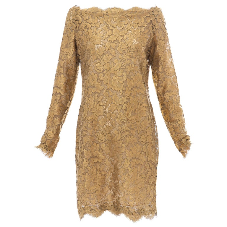 Calvin Klein Collection Metallic Gold Metal Lace Evening Dress, Fall 1991 For Sale