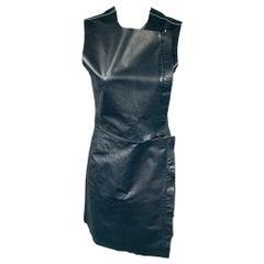 CALVIN KLEIN COLLECTION Size 2 Dark Blue Leather Lamb Skin Sheath Dress