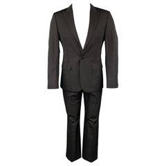 CALVIN KLEIN COLLECTION Size 36 Black Textured Wool / Polyamide Suit
