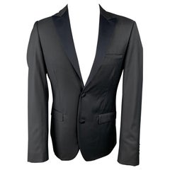 CALVIN KLEIN COLLECTION Size 36 Black Wool Peak Lapel Sport Coat