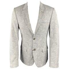 CALVIN KLEIN COLLECTION Size 36 Grey & White Woven Notch Lapel Sport Coat