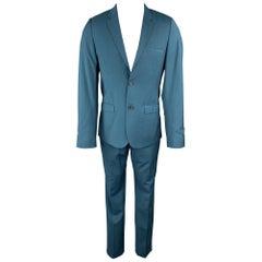 CALVIN KLEIN COLLECTION Size 36 Wool Notch Lapel Teal Suit