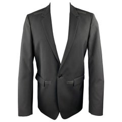 CALVIN KLEIN COLLECTION Size 38 Black Wool Rubber Piping Notch Lapel Blazer