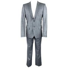 CALVIN KLEIN COLLECTION Size 38 Blue Heather Wool Notch Lapel Suit