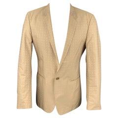 CALVIN KLEIN COLLECTION Size 38 Khaki Print Cotton Sport Coat