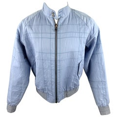 CALVIN KLEIN COLLECTION Size 38 Light Blue Stitched Cotton / Acrylic Jacket
