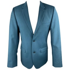 CALVIN KLEIN COLLECTION Size 38 Wool Notch Lapel Teal Sport Coat