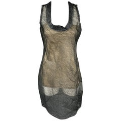 CALVIN KLEIN COLLECTION Size 4 Grey Textured Silk Sleeveless Shift Dress