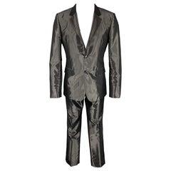 CALVIN KLEIN COLLECTION Size 40 Black Metallic Viscose Blend Notch Lapel Suit