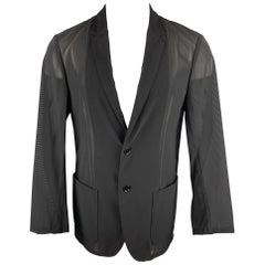 CALVIN KLEIN COLLECTION Size 40 Black See Through Mesh Sport Coat