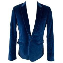 CALVIN KLEIN COLLECTION Size 40 Royal Blue Velvet Notch Lapel Sport Coat