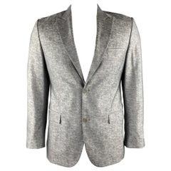 CALVIN KLEIN COLLECTION Size 40 Silver Heather Wool / Silk Peak Lapel Sport Coat