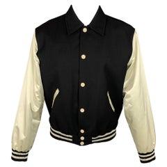 CALVIN KLEIN COLLECTION Size M Black & Beige Mixed Fabrics Jacket
