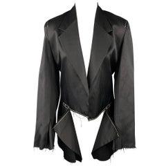 CALVIN KLEIN COLLECTION Size M Black Contrast Stitch Cotton Notch Lapel Jacket