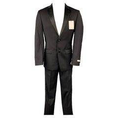 CALVIN KLEIN Regular Slim Fit Size 36 Black Wool Tuxedo Suit