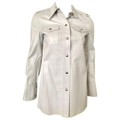 Calvin Klein Runway White Leather Button Down Shirt Dress