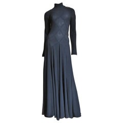 Calvin Klein Silk Maxi Dress with Intricate Seaming