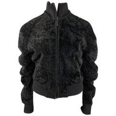 CALVIN KLEIN Size 8 Black Textured Shearling Zip Up Jacket